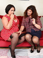 Curvy Lesbian housewives go naughty and get wet